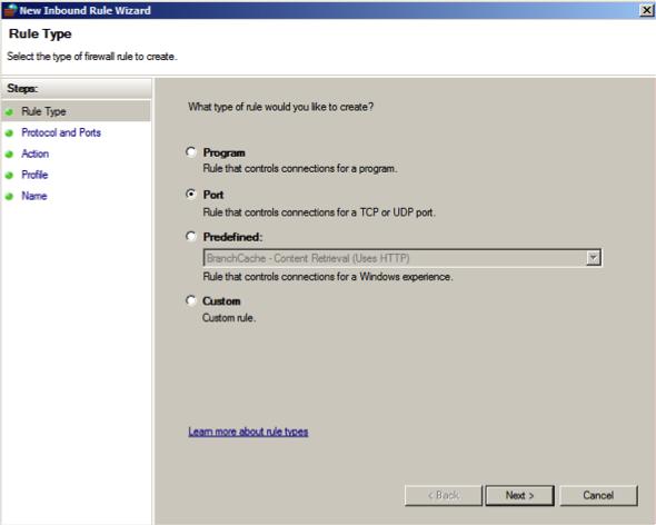 New Inbound Rule Wizard - Windows Firewall