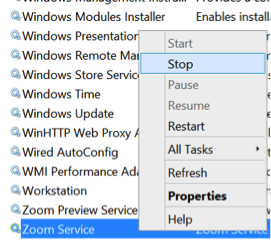 Stop Zoom Service - Windows Services