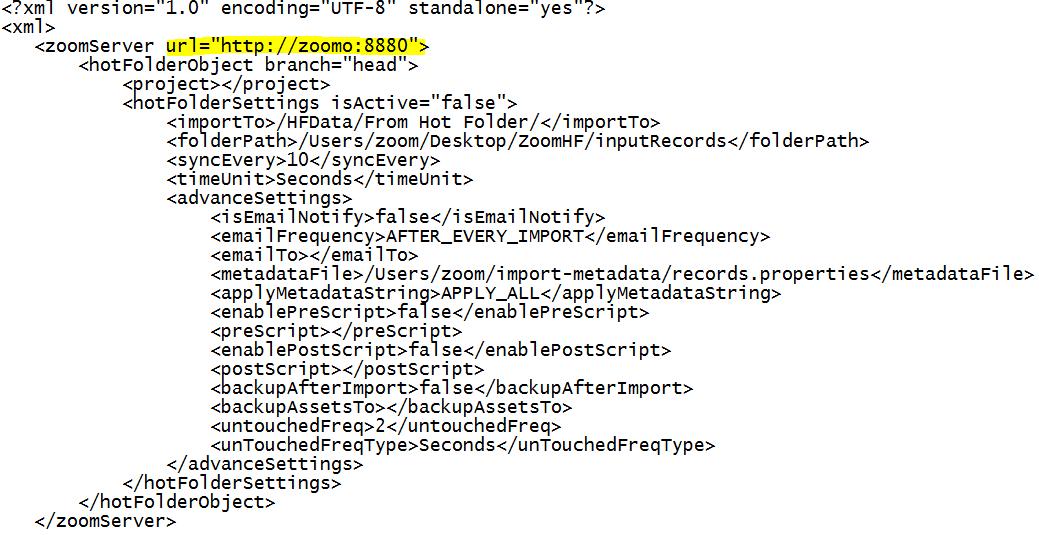Hot folder with server url
