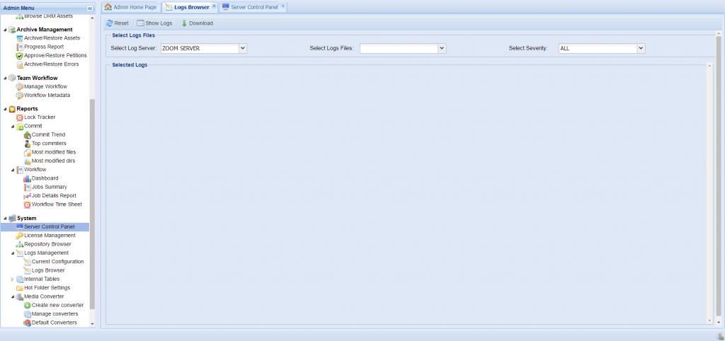 Log Browser Tab in Zoom Server