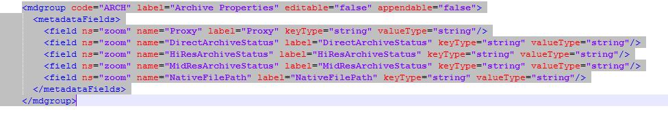 ARCH metadata example